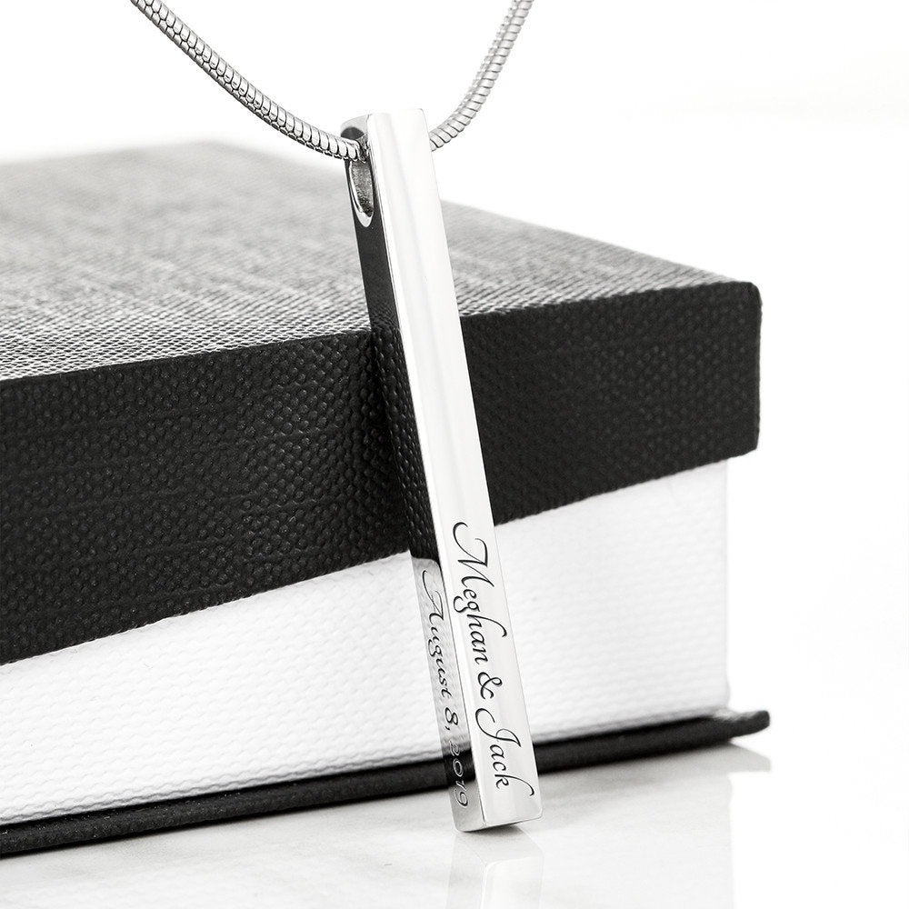 Personalized Engraved 4-Sided Bar Necklace, Stainless Steel, 18k Gold Plated