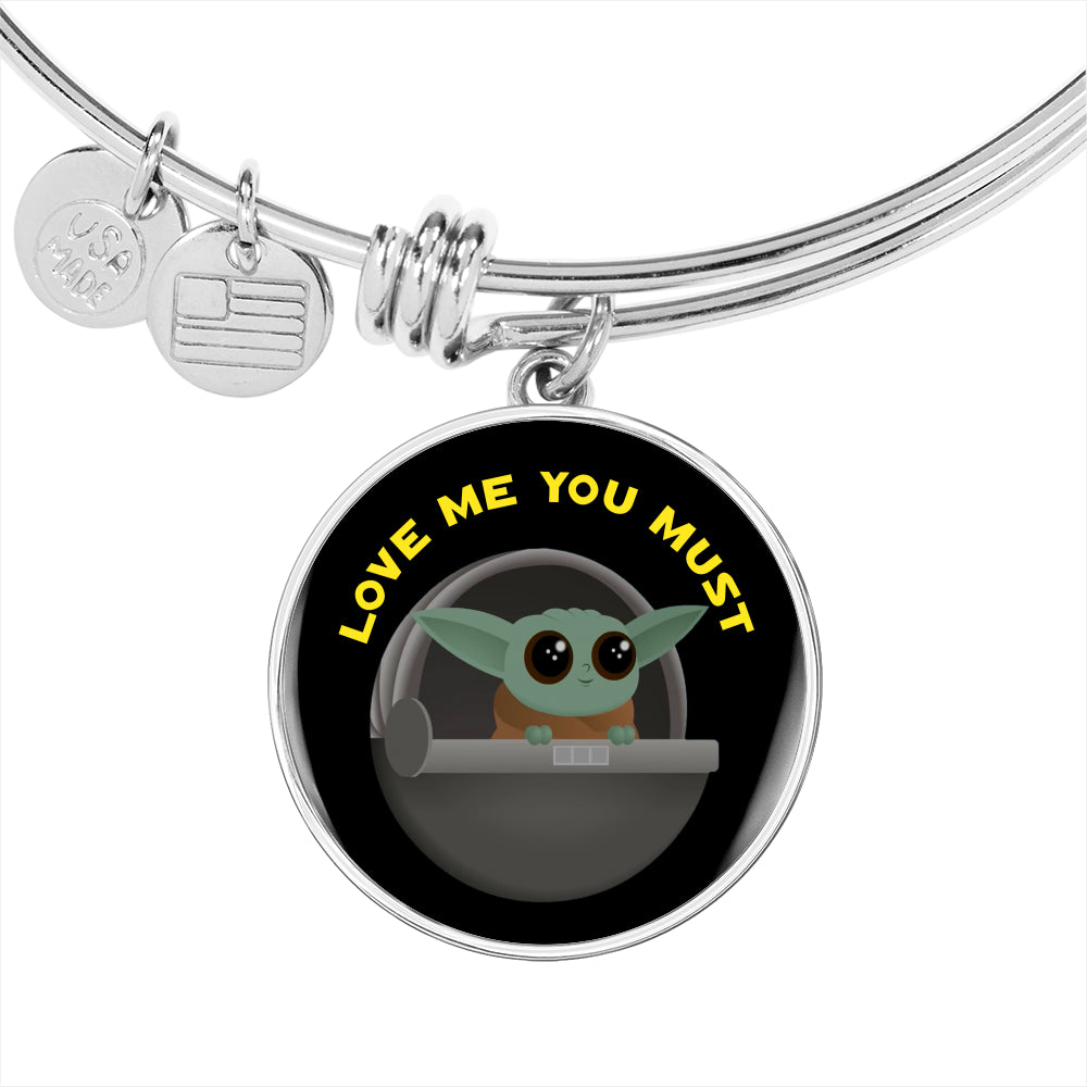 Baby Yoda Love Me You Must, Circle Pendant Bangle, Engravable