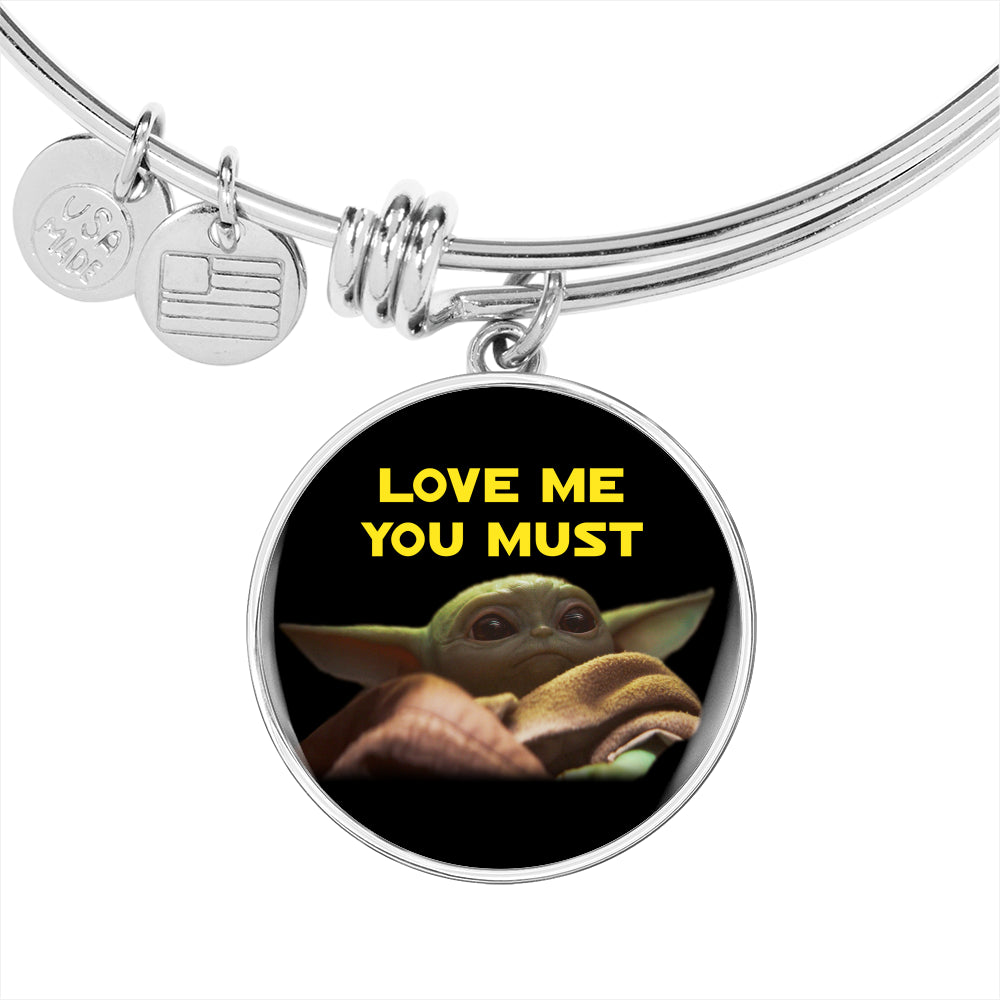 Baby Yoda Love Me You Must, Circle Pendant Bangle, Engravable 2