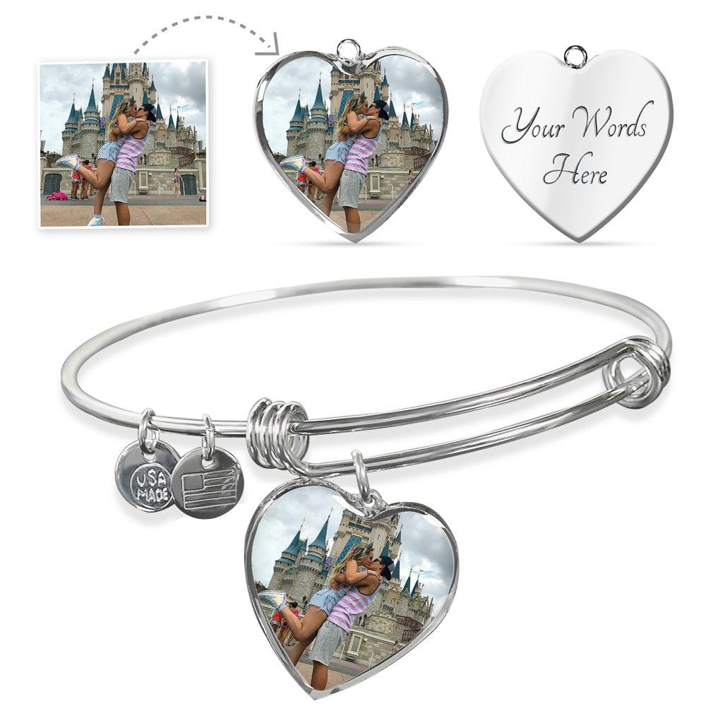 Personalized Heart Pendant Bangle - Upload Your Photo
