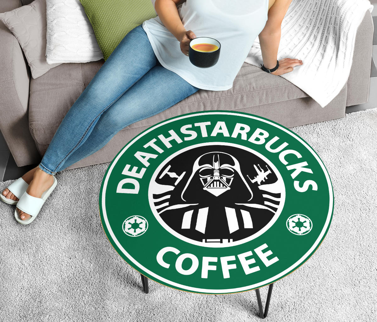 Star Wars Coffee Table, Deathstarbucks, Modern Wood Round Table