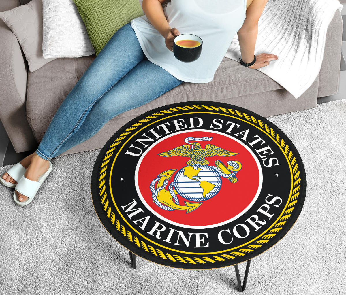 USMC Coffee Table - Modern Wood Round Table