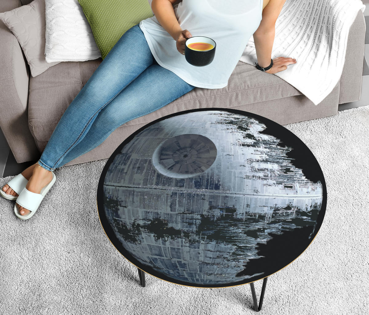 Death Star 2 Coffee Table - Modern Wood Round Table