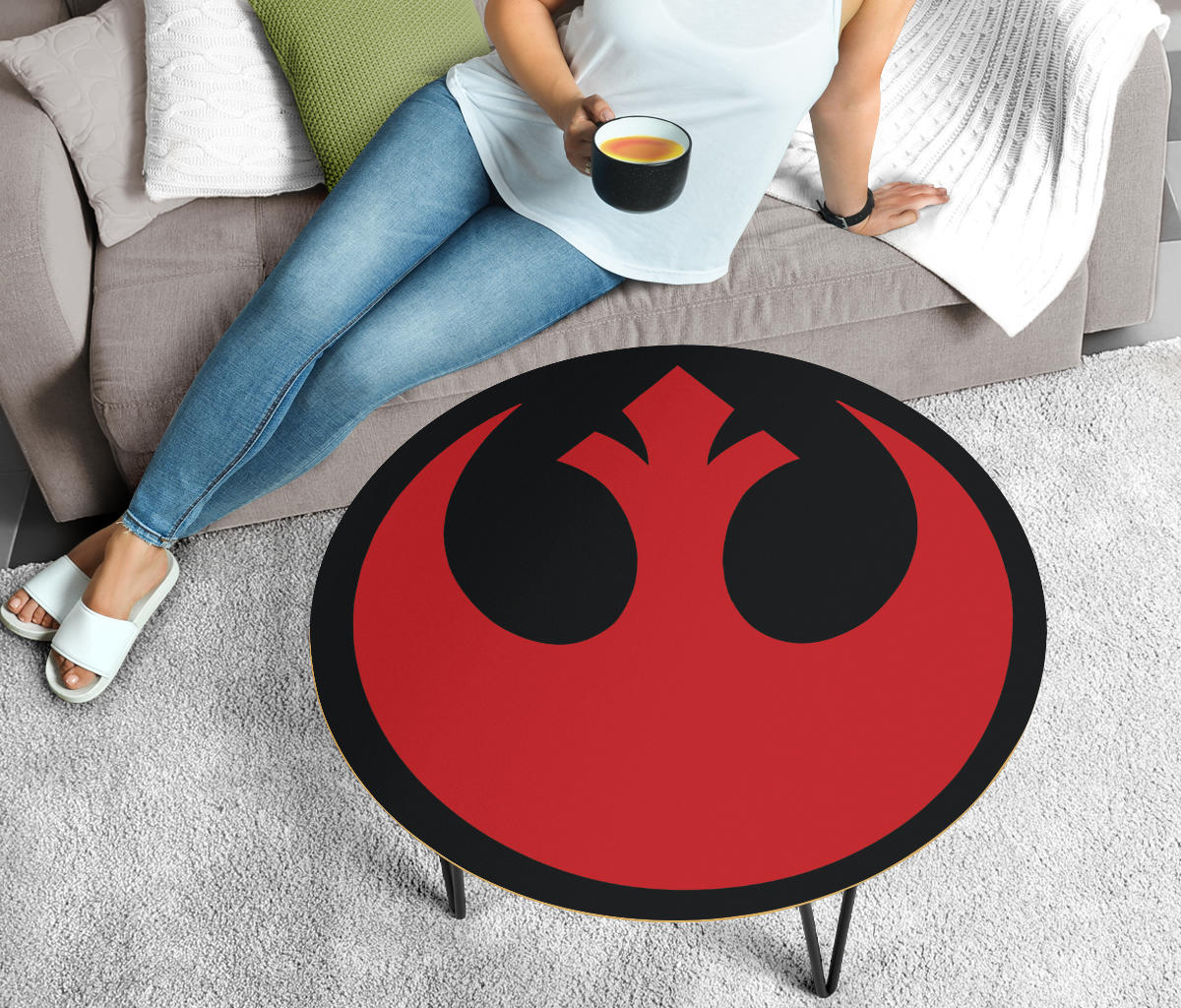 Star Wars Coffee Table - Rebel Alliance Red - Modern Wood Round Table