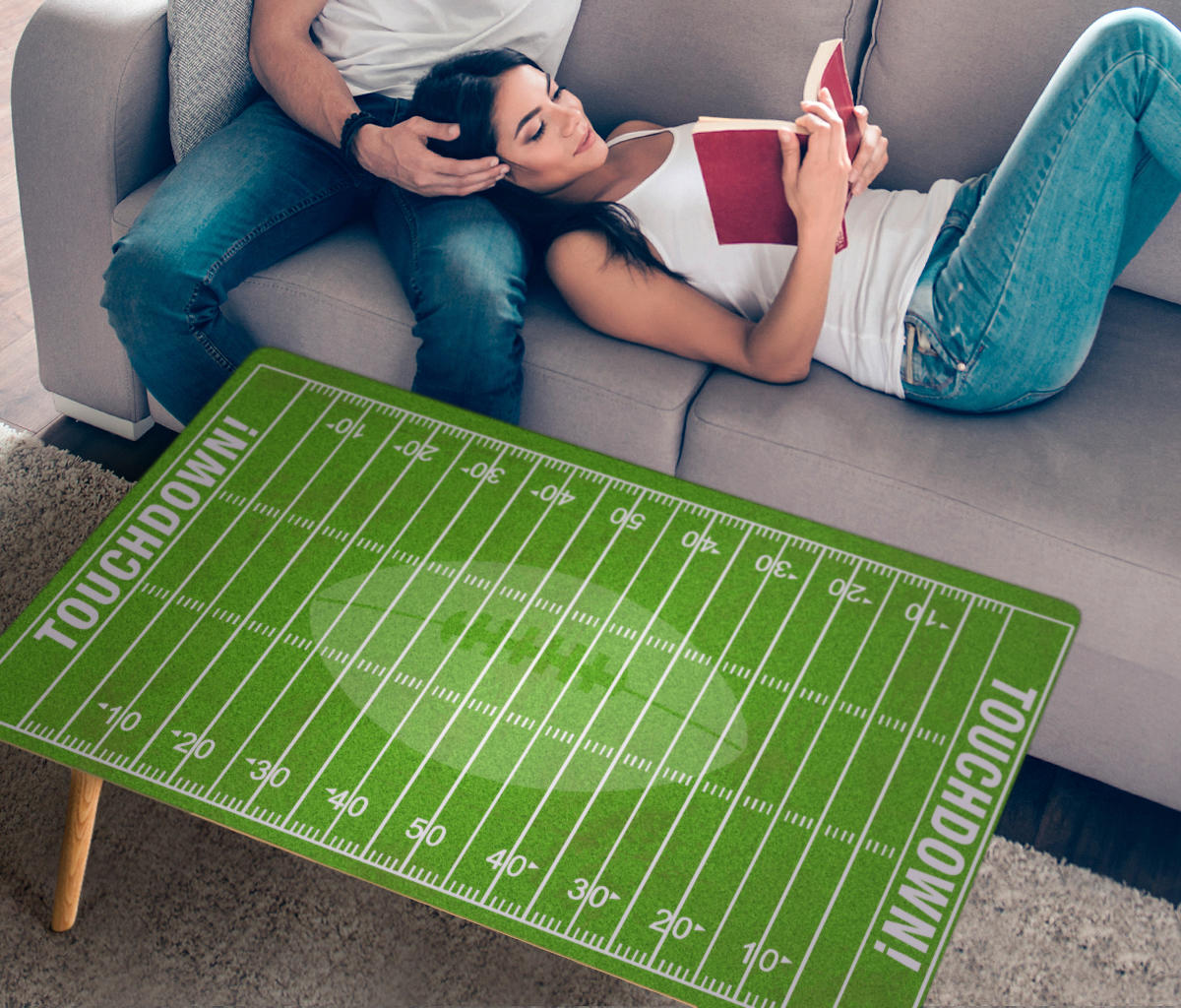 Rectangle Coffee Table Football Field - NEW