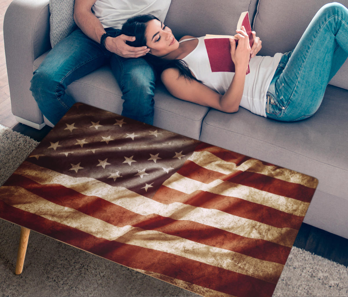 American Flag Coffee Table - Modern Wood Rectangle Living Room Table