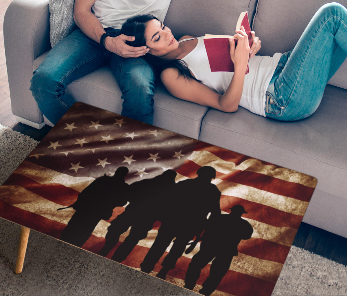 American Flag Coffee Table with Military - Modern Wood Rectangle Living Room Table – Silhouette of Troops