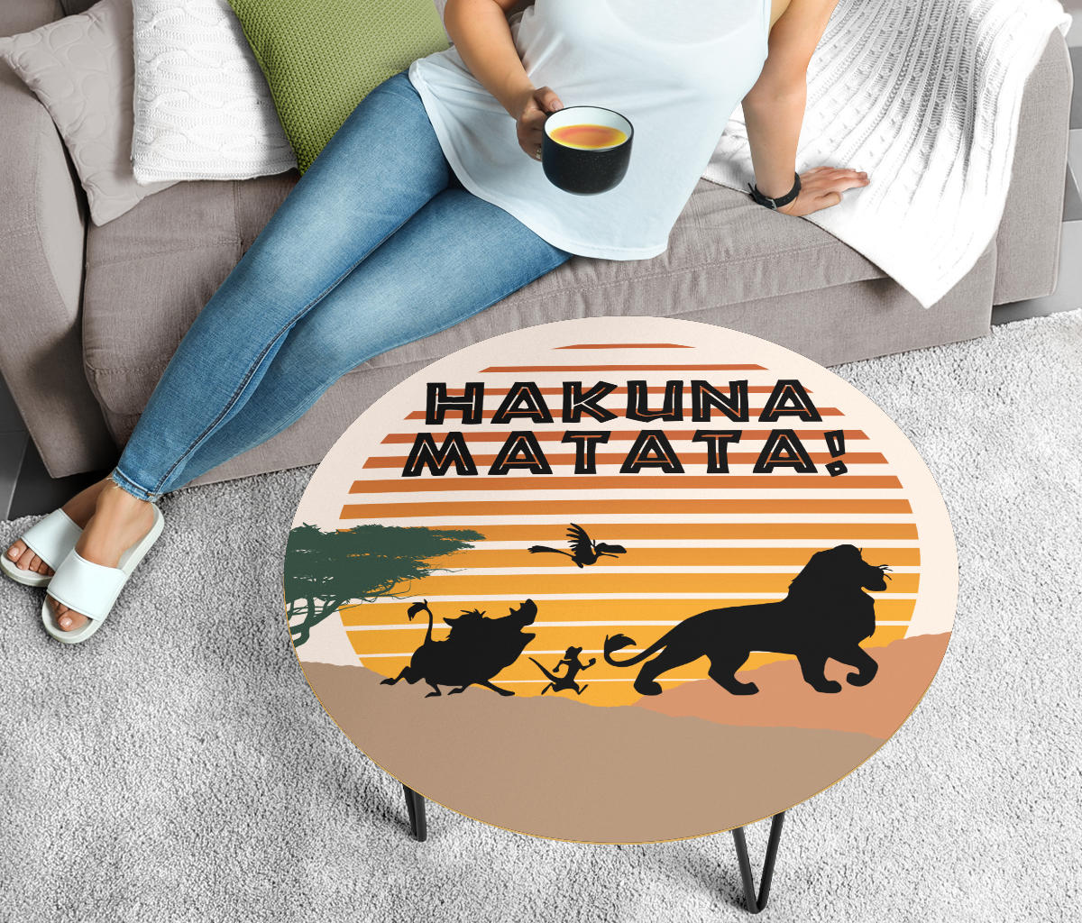 Lion King Coffee Table - Modern Wood Round Table
