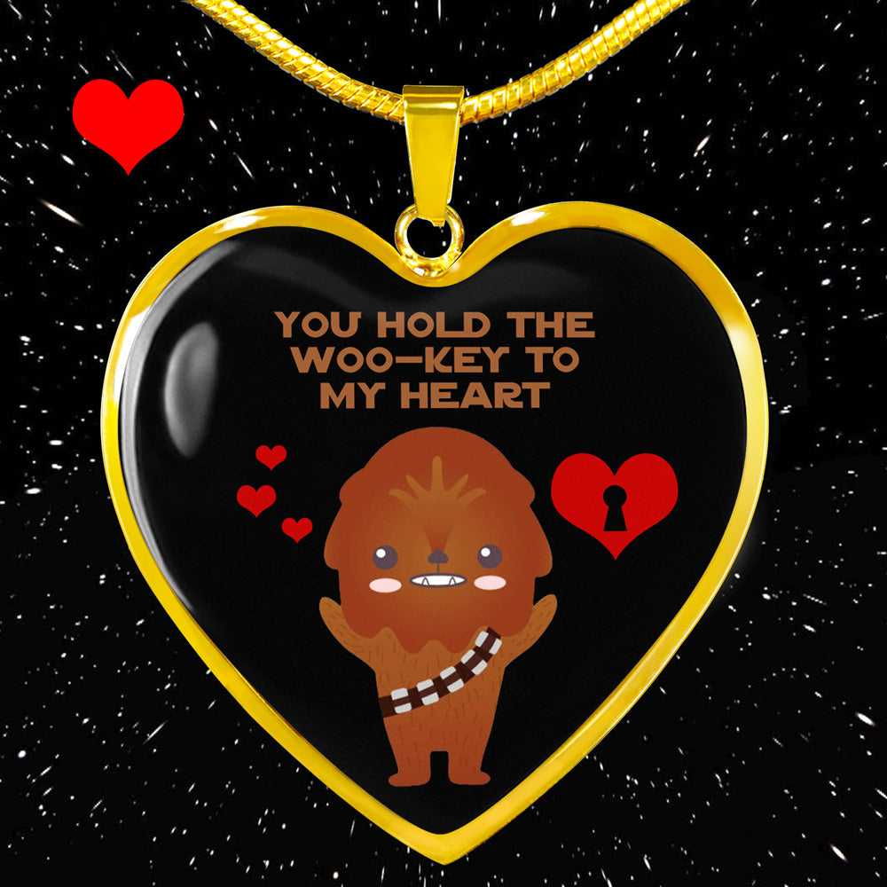 You Hold the Woo-Key to My Heart - Heart Pendant Necklace