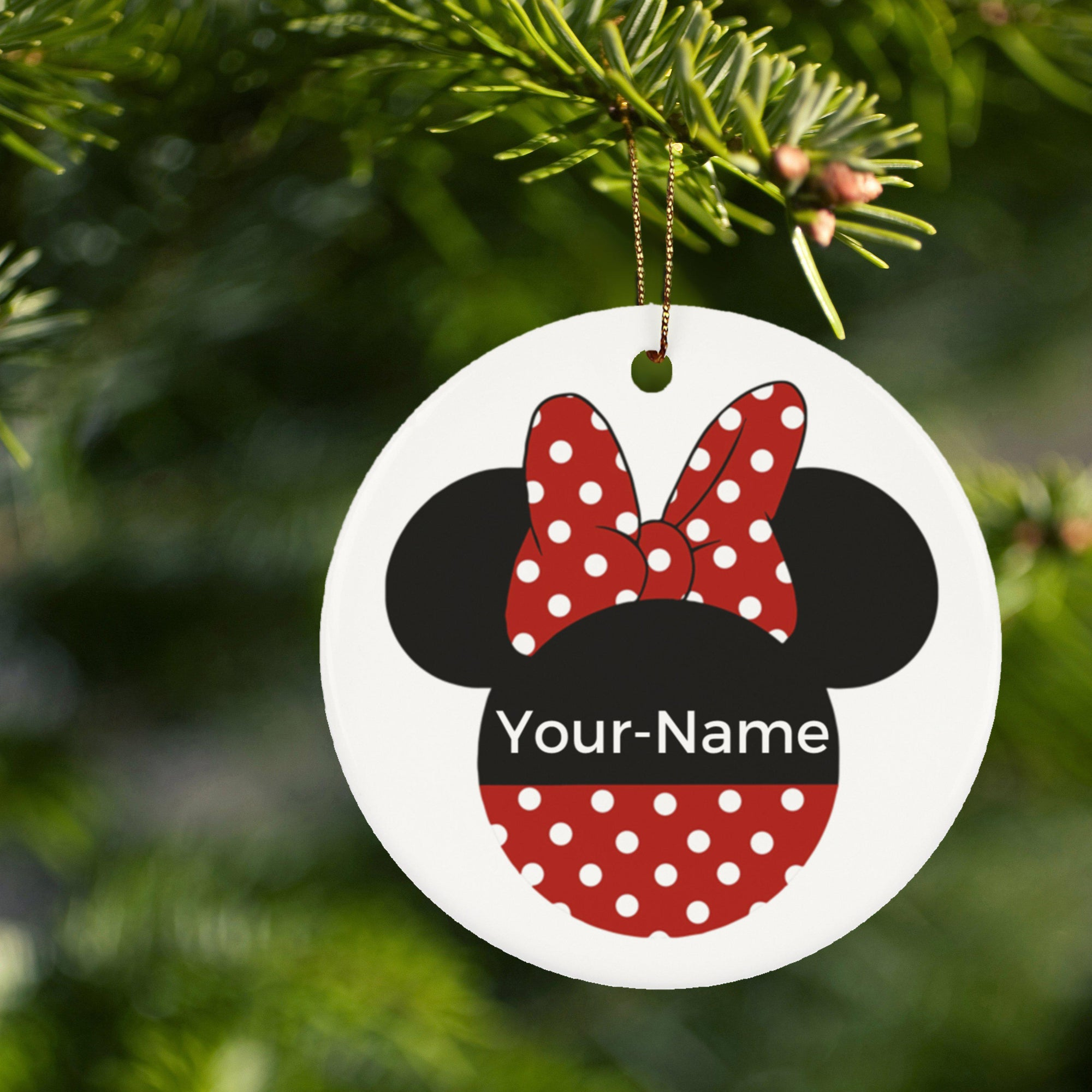 Minnie Ceramic Circle Ornament - Personalized