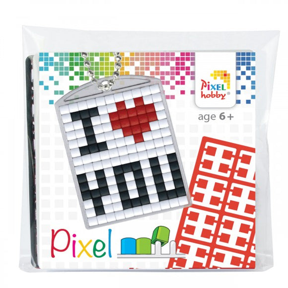 Pixelhobby Mosaic I ♥ You Keyring Including Chain Craft Kit