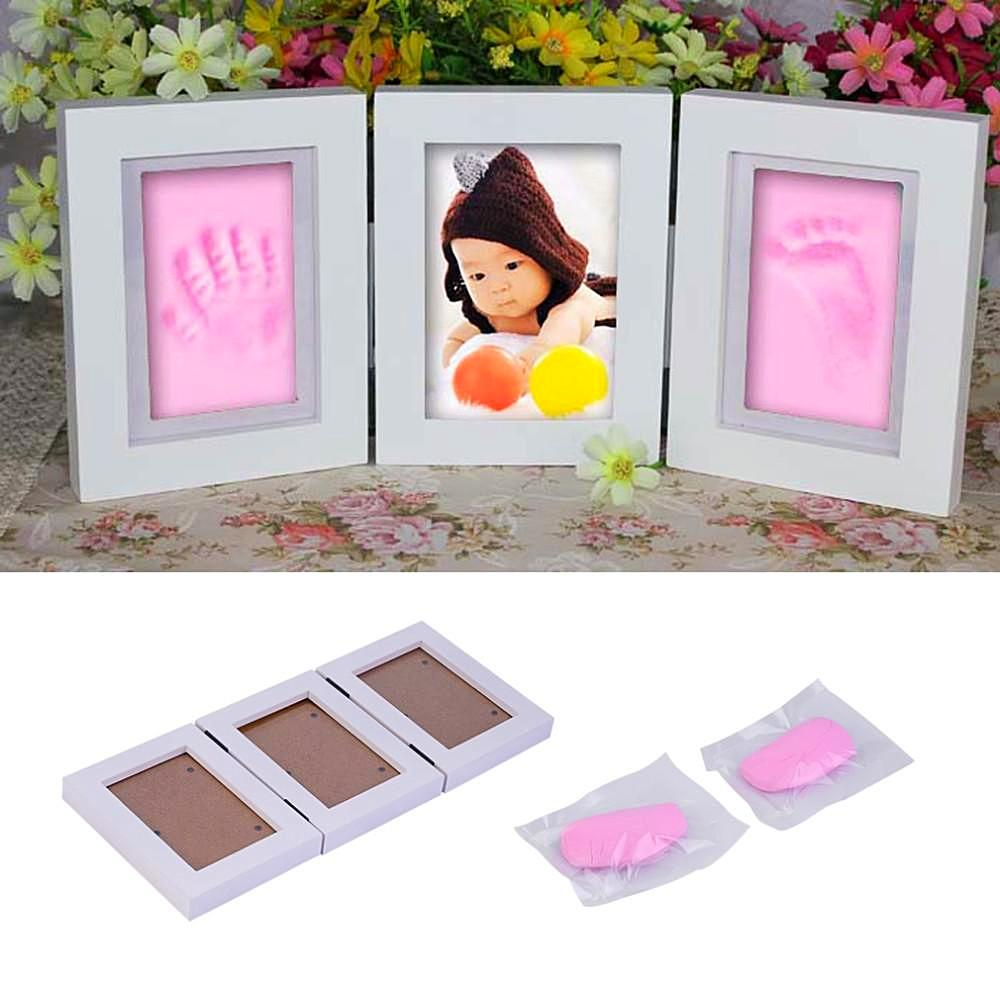 Baby diy footprint and handprint clay cast kit set with wooden photo ...