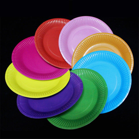 (10) 10 Festival Paper Plates Pick your Color 7in only $6 FREE SHIP - $7 on Amazon plus ship