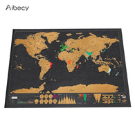Deluxe Erase Black World Map Scratch off World Map Personalized Travel Scratch for Map Room Home Decoration Wall Stickers - Zoid Deals