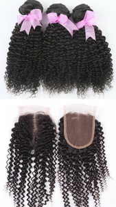 Brazilian Kinky Curly 3 Bundles w/Closure
