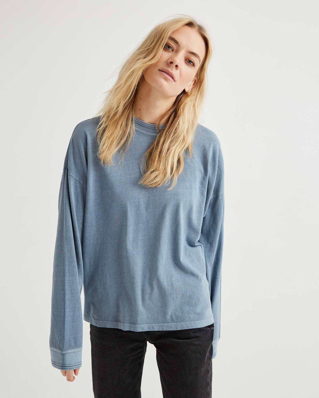 Relaxed Long Sleeve Pullover- Blue Mirage