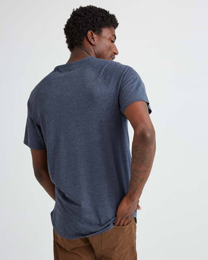 Short Sleeve Henley- Blue Nights