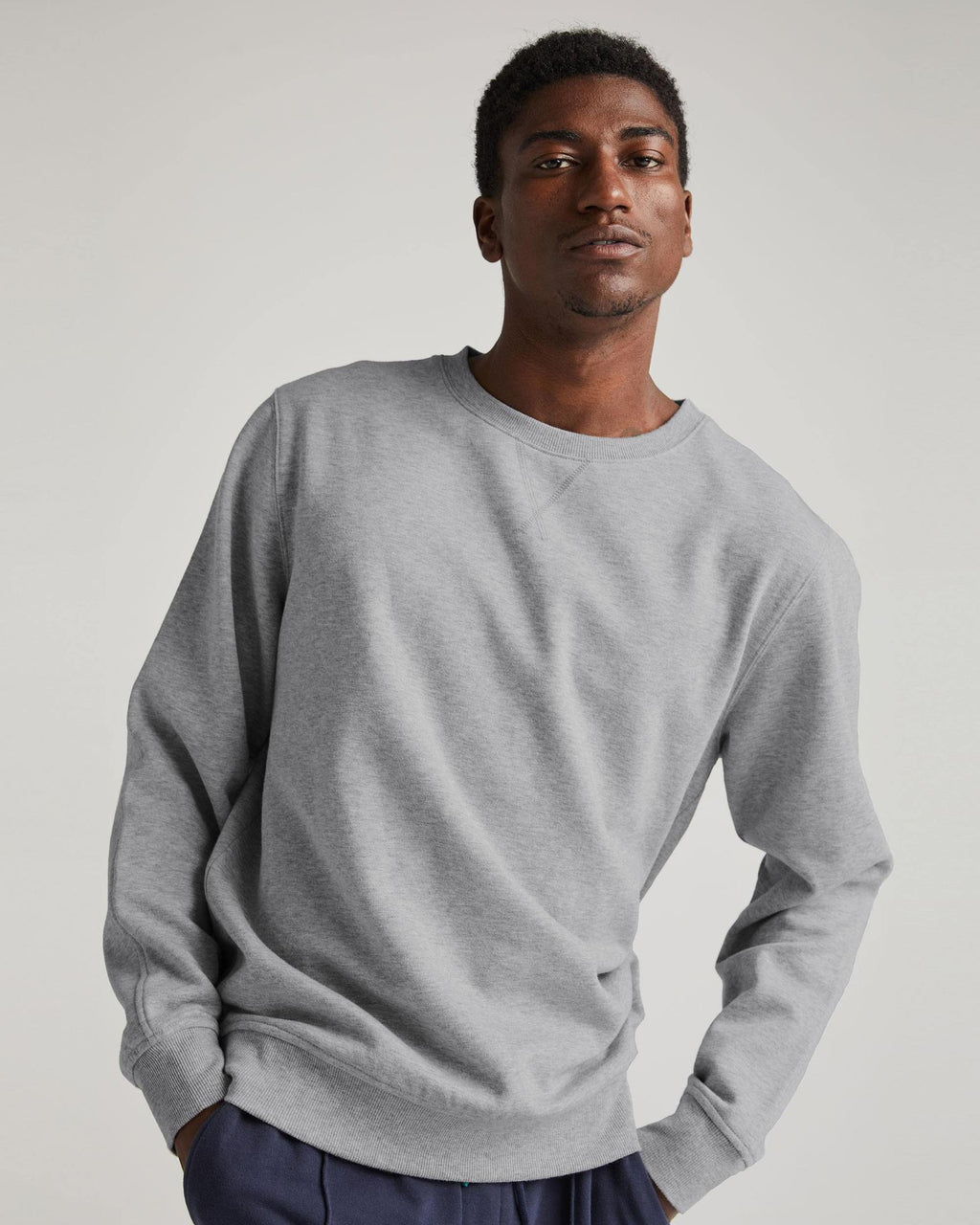 Men's Recycled Fleece Crew- Heather Grey