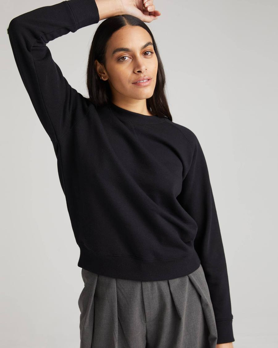 Recycled Fleece Crew Sweatshirt- Black
