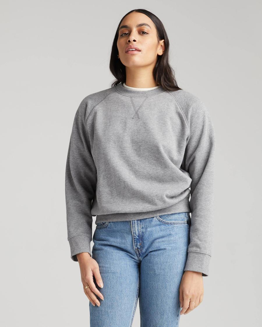 Recycled Fleece Crew Sweatshirt- Heather Grey