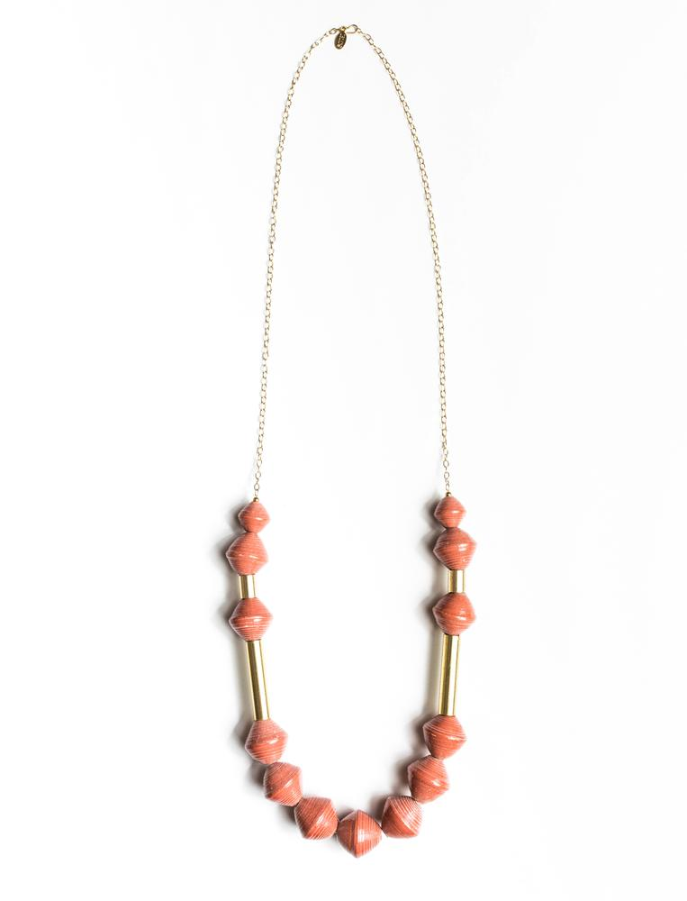 Karis Chunky Scoop Necklace- Rust