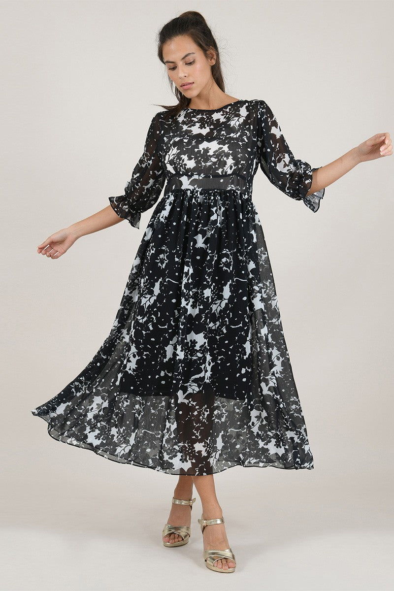 Printed Veil Long Dress
