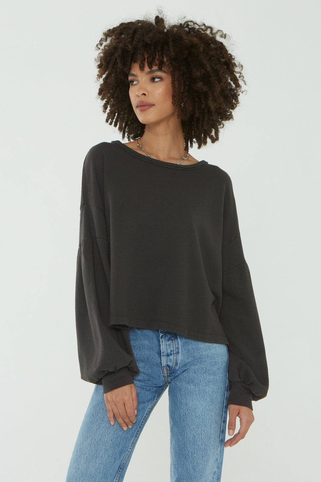 All That Sweatshirt-Distressed Black