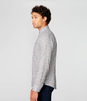 On Point Print Shirt- Indigo Palais