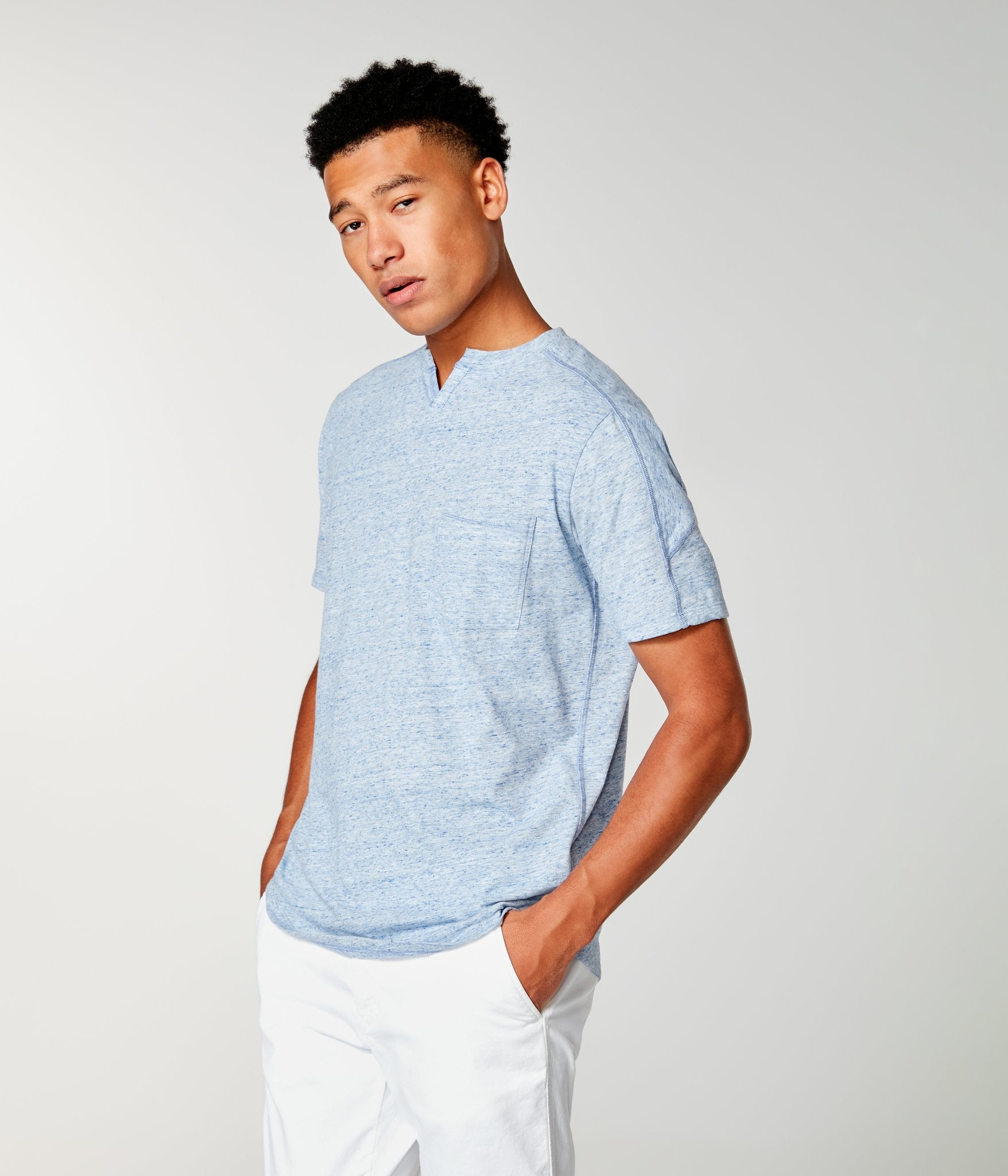 Short Sleeve Victory Notch Tee- Blue Heather