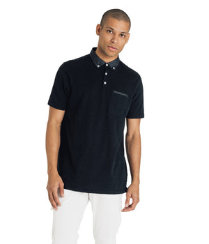 Soft Slub Jersey Polo- Black
