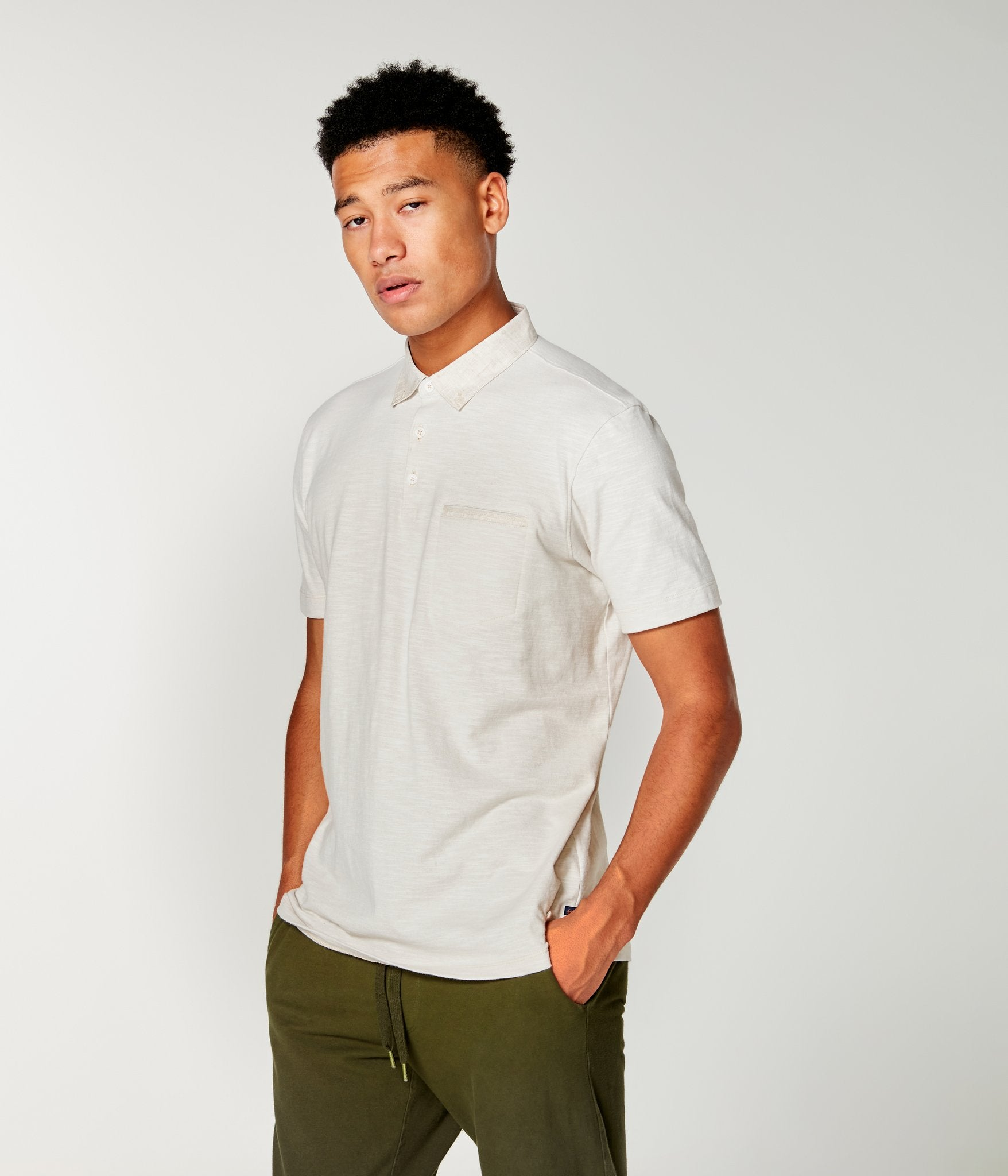 Soft Slub Polo- Oatmeal