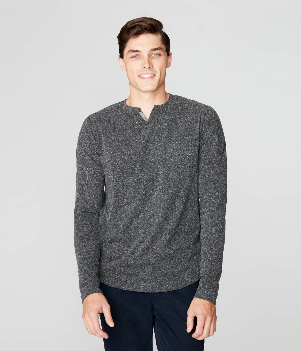 Long Sleeve Notch Neck Tee- Charcoal