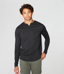 Long Sleeve Notch Neck Tee- Black