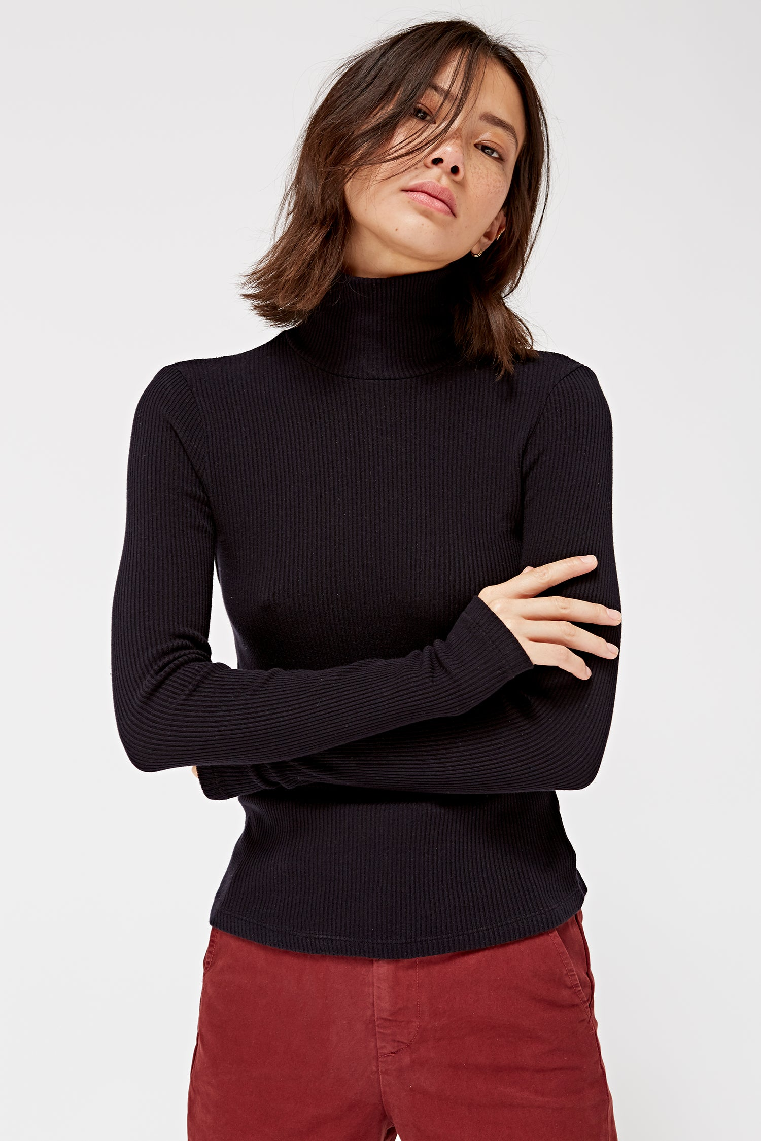 Rib Turtle Neck Sweater- Tar