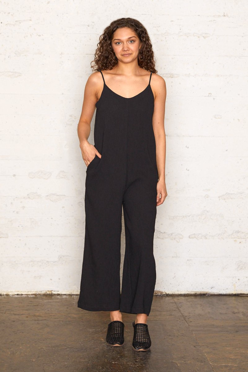 Pleated Crinkle Wide Leg Jumpsuit