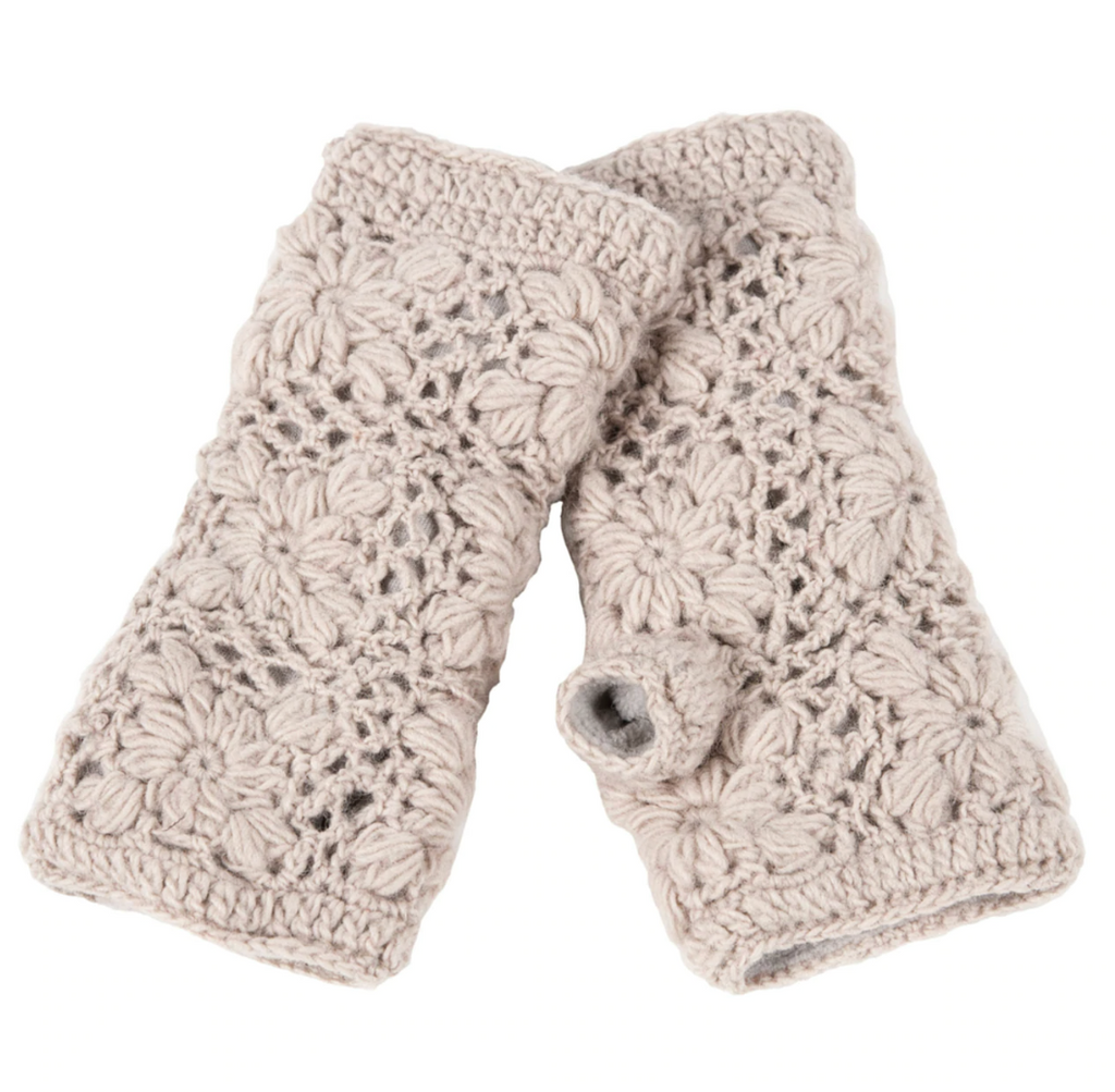 Flower Crochet Hand Warmers- Oatmeal