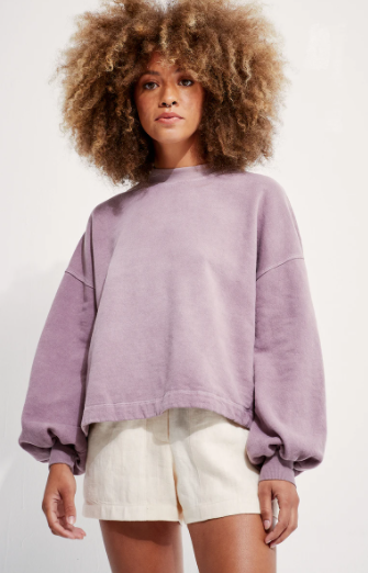 Recycled Cotton Puff Sleeve Sweatshirt-mushroom