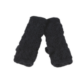 Flower Crochet Handwarmers- Black