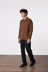 Corduroy Long Sleeve Shirt- Almond