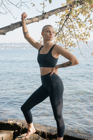 Compressive High Rise Pocket Leggings- Black