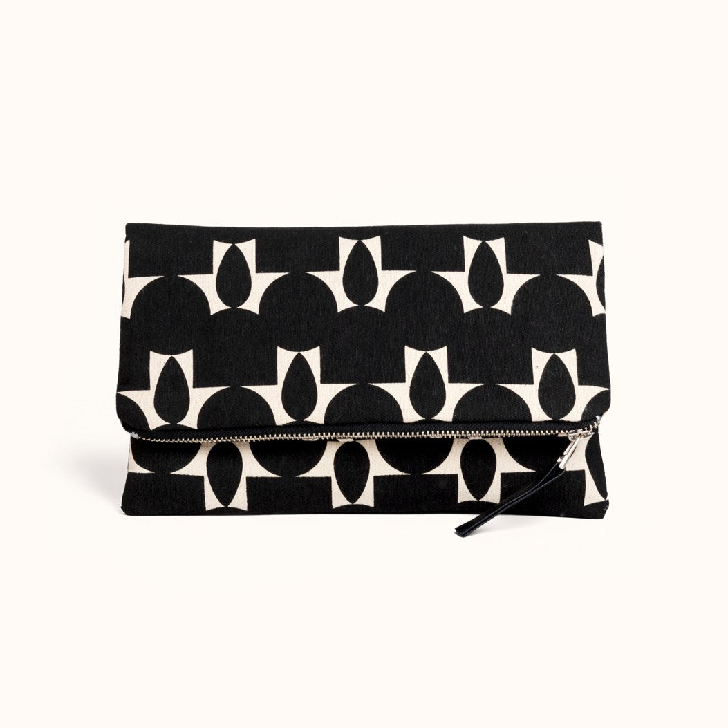 Foldover Clutch- Totem Black