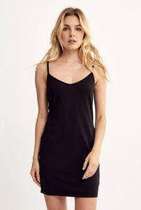 V Neck Dress- Black