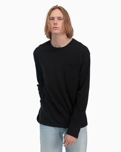 Long Sleeve Crew Pocket Tee- Black
