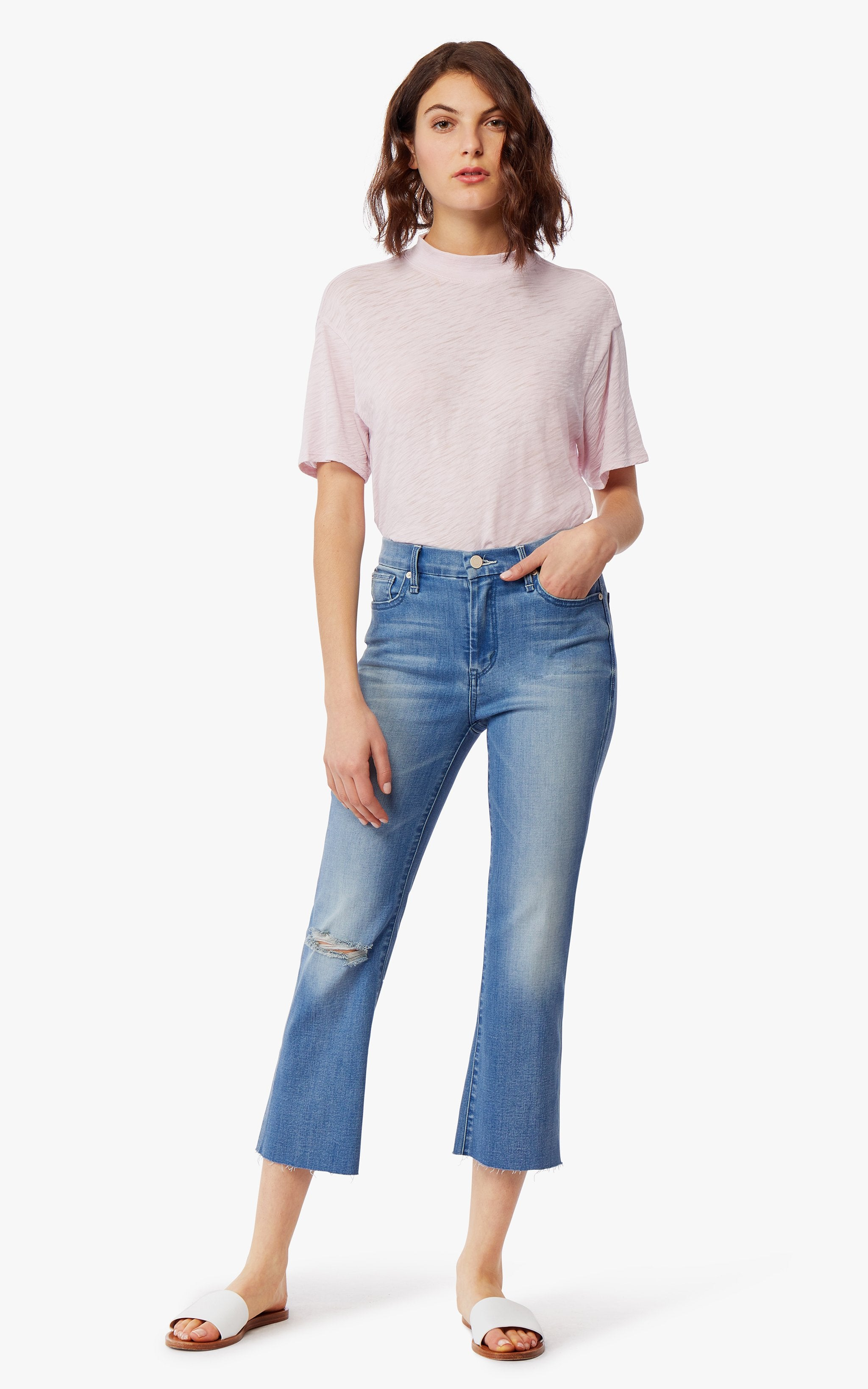 Palo High Rise Crop Flare Double Bite Jeans