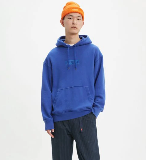 Relaxed Graphic Hoodie- Blue