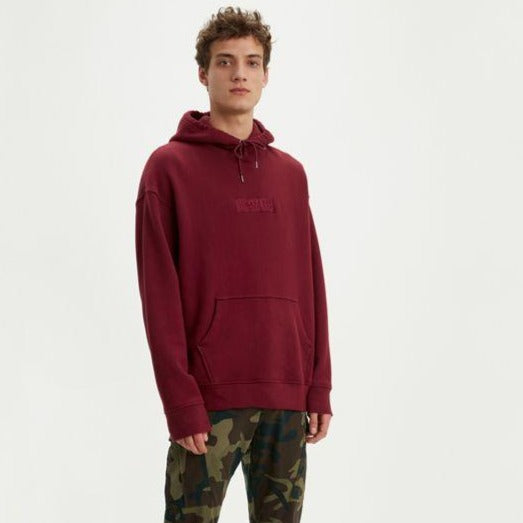 Relaxed Graphic Hoodie- Cabernet