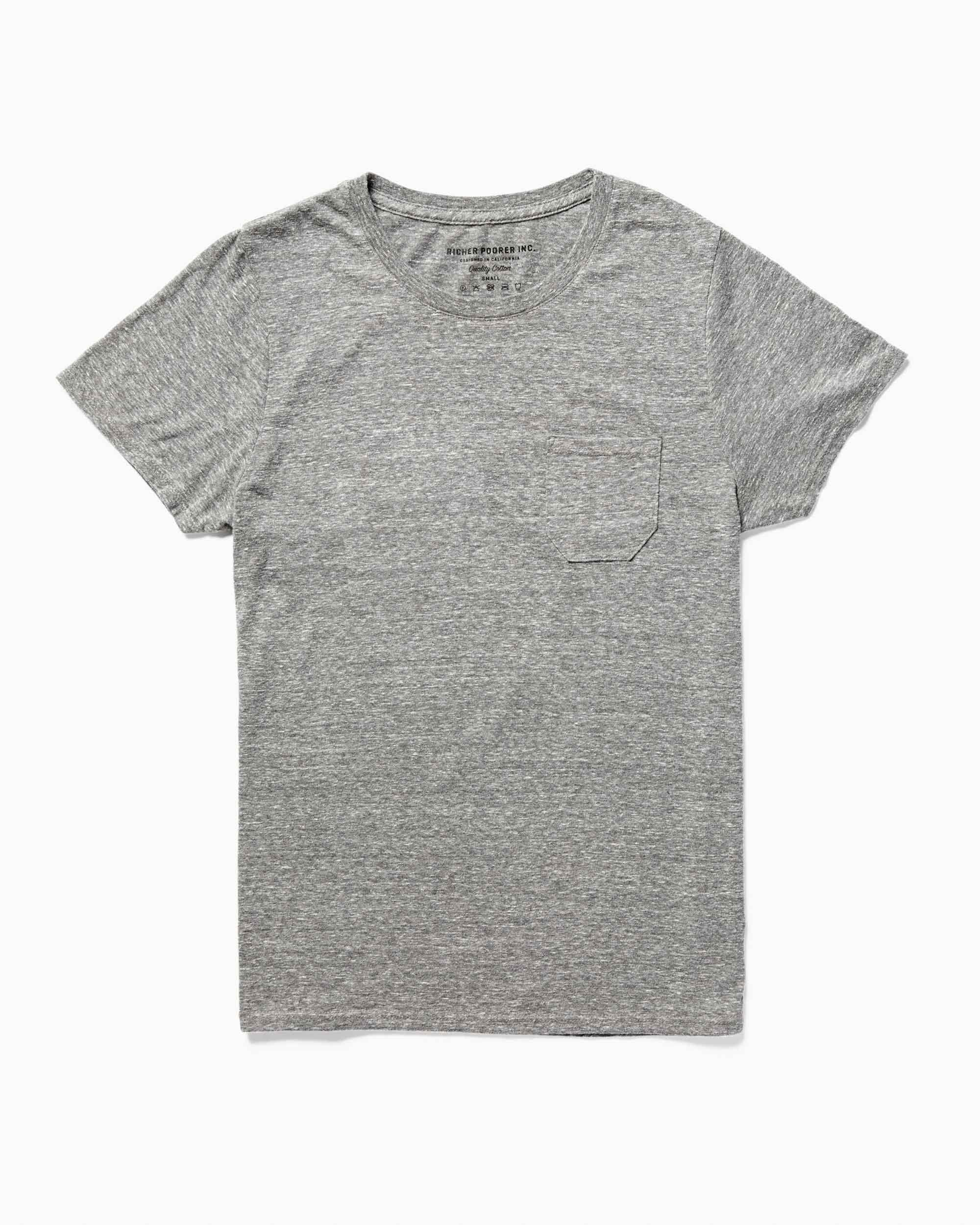 Pocket Crew Tee- Heather Grey