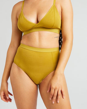 High Waist Brief- Golden Verde