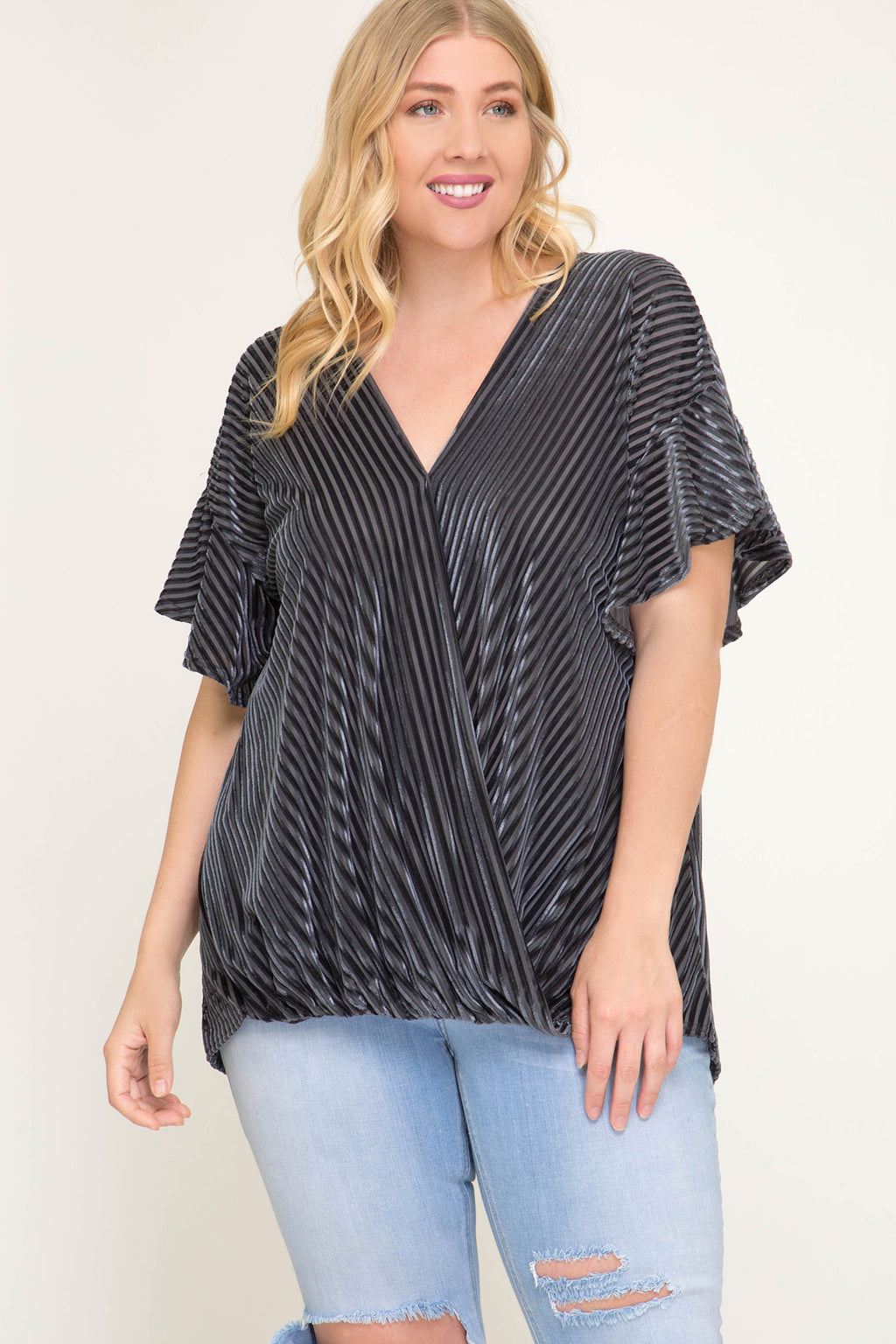 Flutter Sleeve Velvet Top