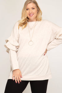 Long Sleeve Cutout Ribbed Tunic